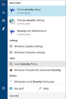 Membuka Local Security Policy melalui Start Menu